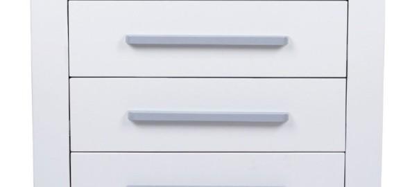 Wickelkommode / Wickeltisch in weiß mit 3 geräumigen Schubladen